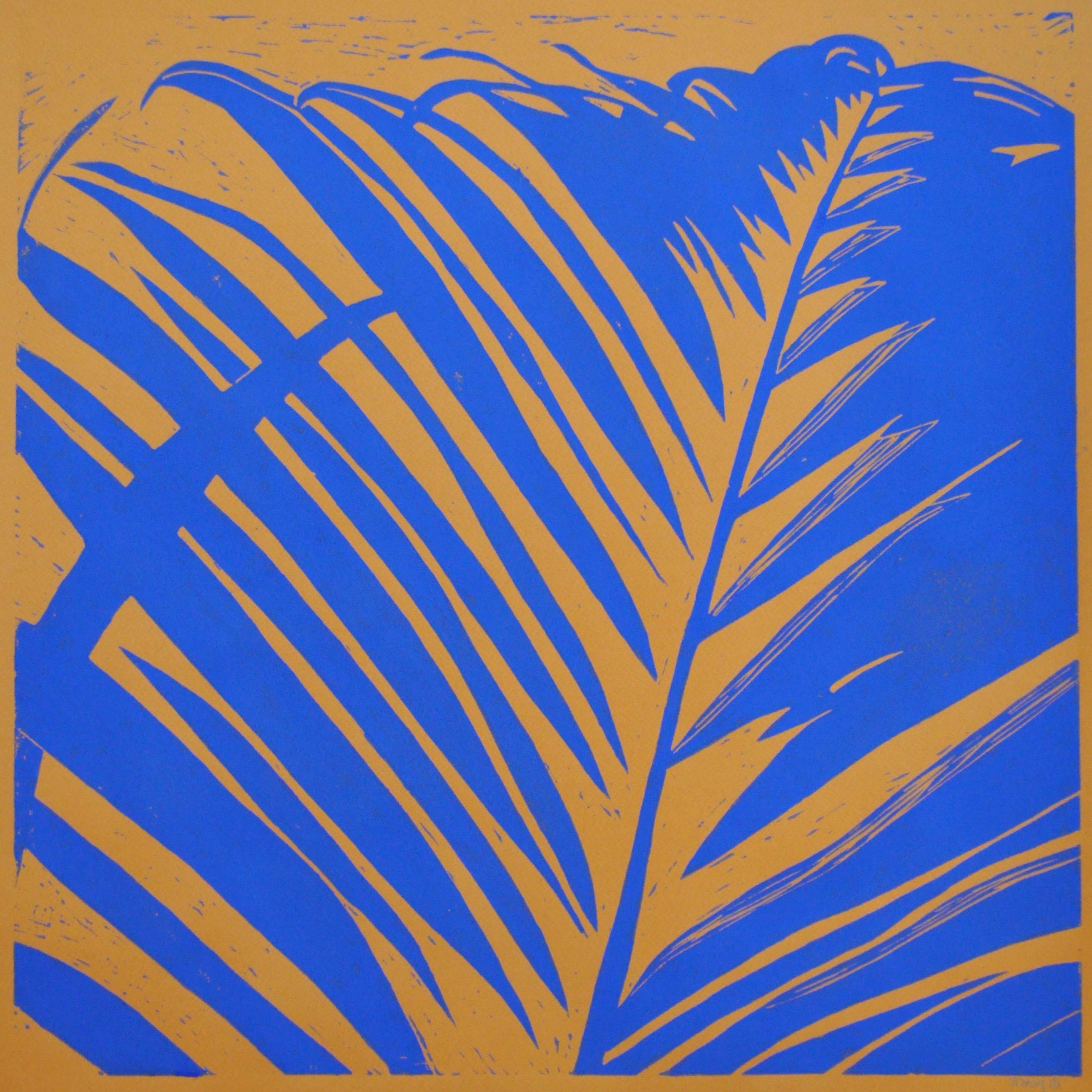 Palmeblad – okker m. ultramarineblå