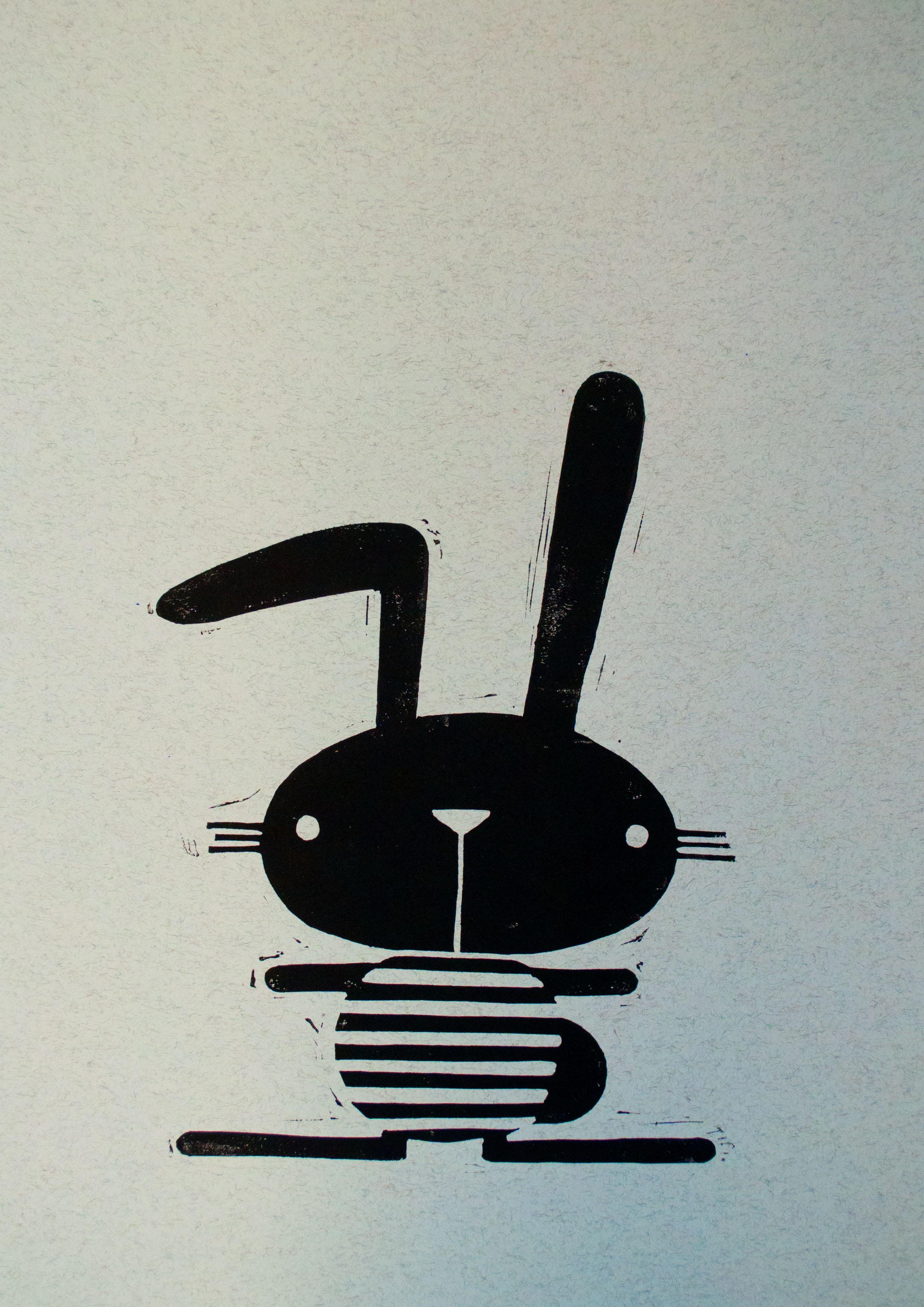 Kanin – lys blå m. sort