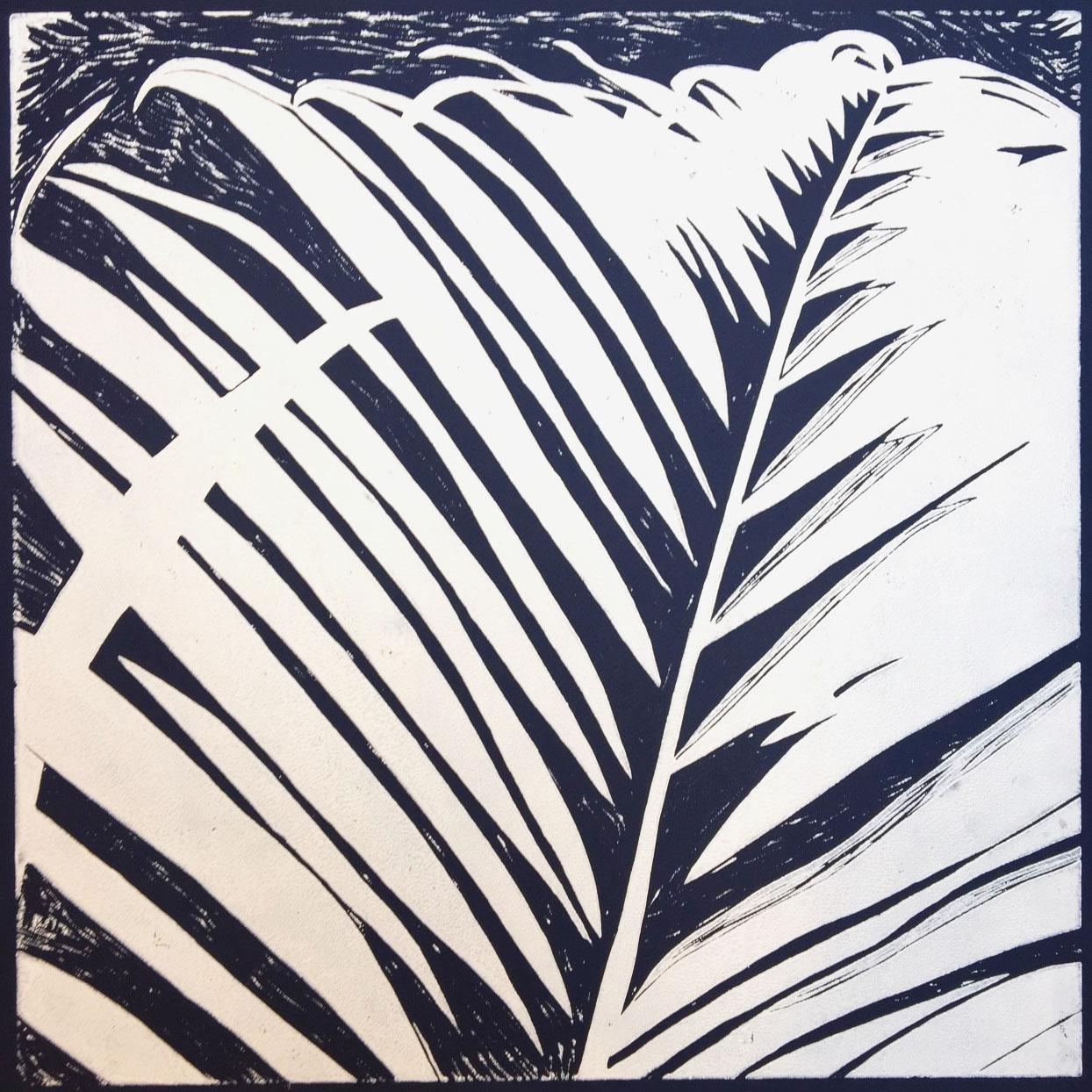 Palmeblad – marineblå m. hvid