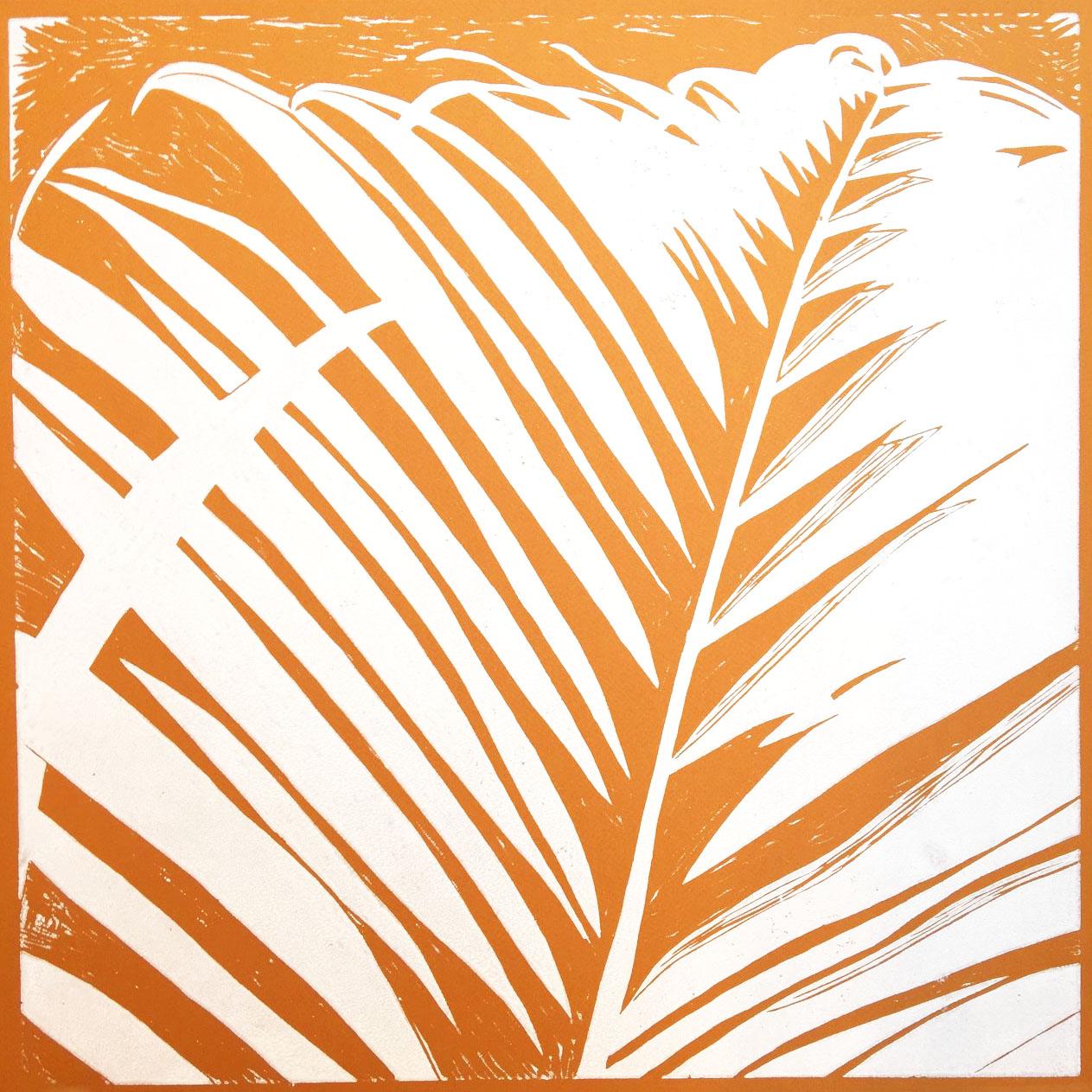 Palmeblad – okker m. hvid